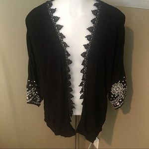 Xhilaration Women's Blk W/White Accent Kimono SZ M